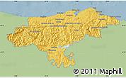 Savanna Style Map of Cantabria, single color outside