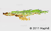 Physical Panoramic Map of Cantabria, cropped outside