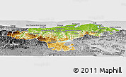 Physical Panoramic Map of Cantabria, desaturated