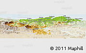 Physical Panoramic Map of Cantabria, lighten