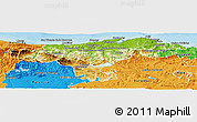 Physical Panoramic Map of Cantabria, political outside
