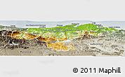 Physical Panoramic Map of Cantabria, semi-desaturated