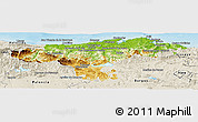 Physical Panoramic Map of Cantabria, shaded relief outside