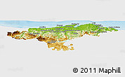 Physical Panoramic Map of Cantabria, single color outside