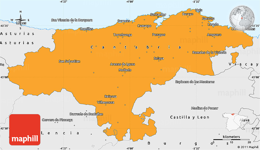 Political Simple Map of Cantabria single color outside borders and