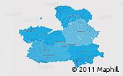 Political Shades 3D Map of Castilla-La Mancha, cropped outside