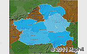 Political Shades 3D Map of Castilla-La Mancha, darken