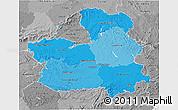 Political Shades 3D Map of Castilla-La Mancha, desaturated