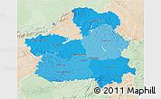 Political Shades 3D Map of Castilla-La Mancha, lighten