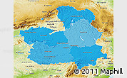 Political Shades 3D Map of Castilla-La Mancha, physical outside