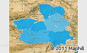 Political Shades 3D Map of Castilla-La Mancha, satellite outside