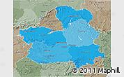 Political Shades 3D Map of Castilla-La Mancha, semi-desaturated