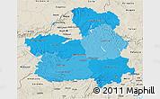 Political Shades 3D Map of Castilla-La Mancha, shaded relief outside
