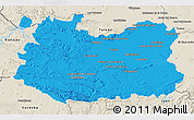 Political 3D Map of Ciudad Real, shaded relief outside