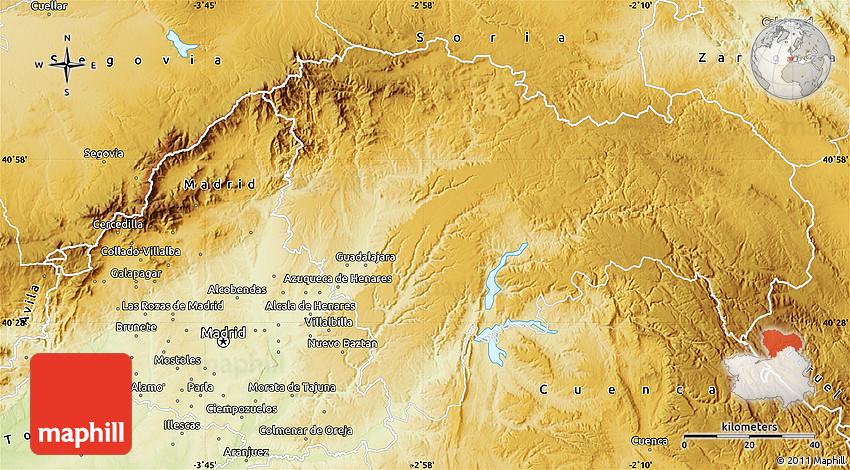 Physical Map of Guadalajara
