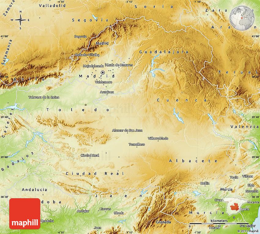 Physical Map of CastillaLa Mancha