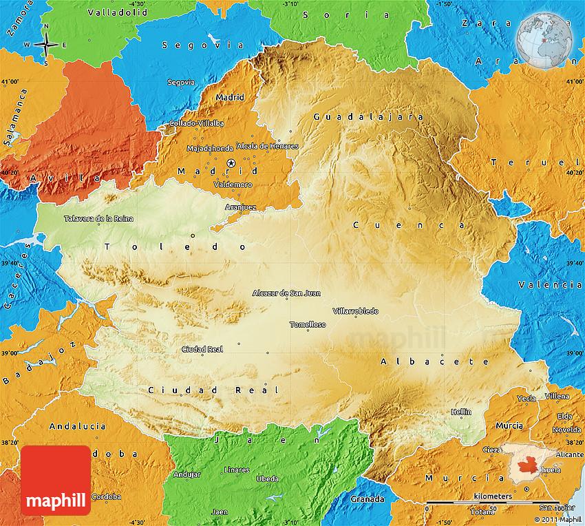 Physical Map of CastillaLa Mancha political outside