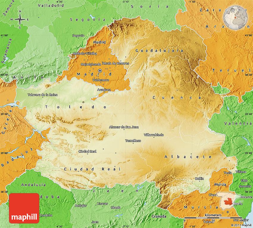 Physical Map of CastillaLa Mancha political shades outside