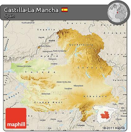 Map Of Spain La Mancha.Free Physical Map Of Castilla La Mancha Shaded Relief Outside