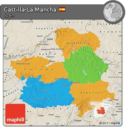 La Mancha Spain Map.Free Political Map Of Castilla La Mancha Shaded Relief Outside