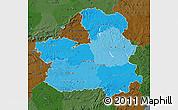 Political Shades Map of Castilla-La Mancha, darken