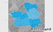 Political Shades Map of Castilla-La Mancha, desaturated