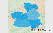 Political Shades Map of Castilla-La Mancha, lighten