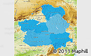 Political Shades Map of Castilla-La Mancha, physical outside