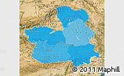Political Shades Map of Castilla-La Mancha, satellite outside