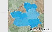 Political Shades Map of Castilla-La Mancha, semi-desaturated