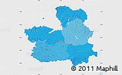 Political Shades Map of Castilla-La Mancha, single color outside