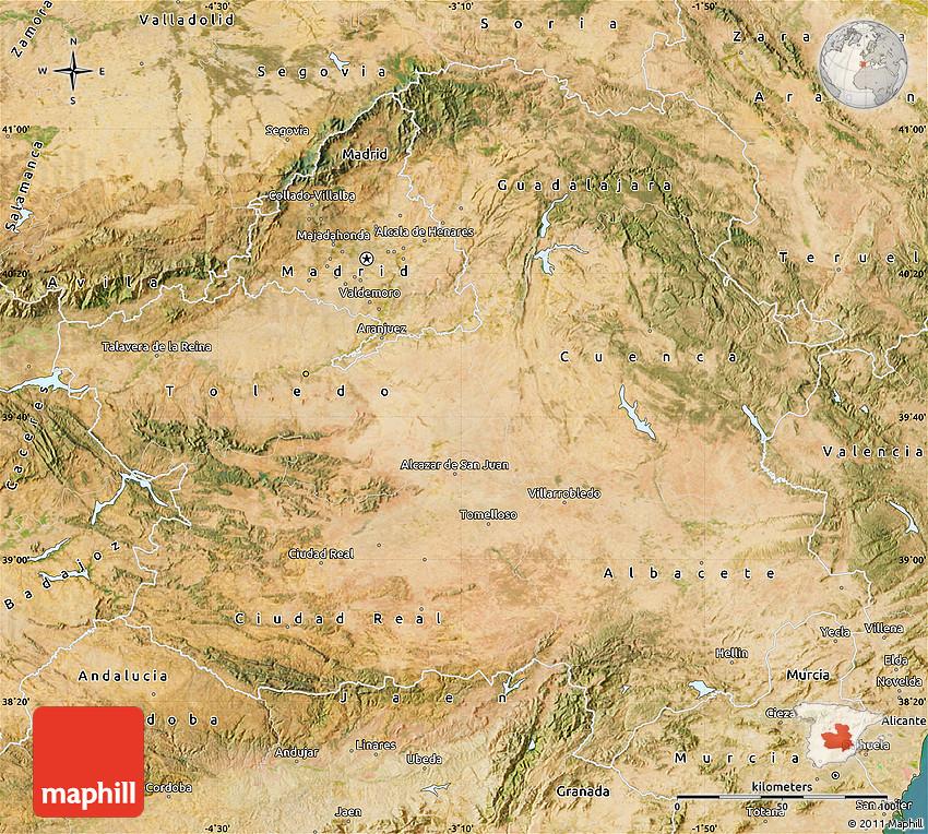 Satellite Map of CastillaLa Mancha