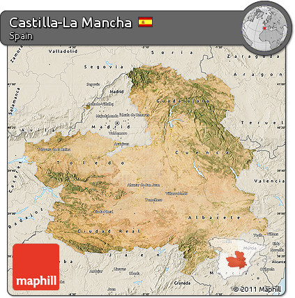 Free Satellite Map of CastillaLa Mancha shaded relief outside