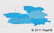 Political Shades Panoramic Map of Castilla-La Mancha, cropped outside