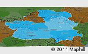 Political Shades Panoramic Map of Castilla-La Mancha, darken