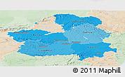 Political Shades Panoramic Map of Castilla-La Mancha, lighten