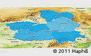 Political Shades Panoramic Map of Castilla-La Mancha, physical outside