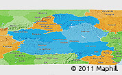 Political Shades Panoramic Map of Castilla-La Mancha