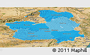 Political Shades Panoramic Map of Castilla-La Mancha, satellite outside