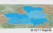 Political Shades Panoramic Map of Castilla-La Mancha, semi-desaturated