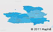 Political Shades Panoramic Map of Castilla-La Mancha, single color outside