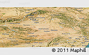 Satellite Panoramic Map of Castilla-La Mancha