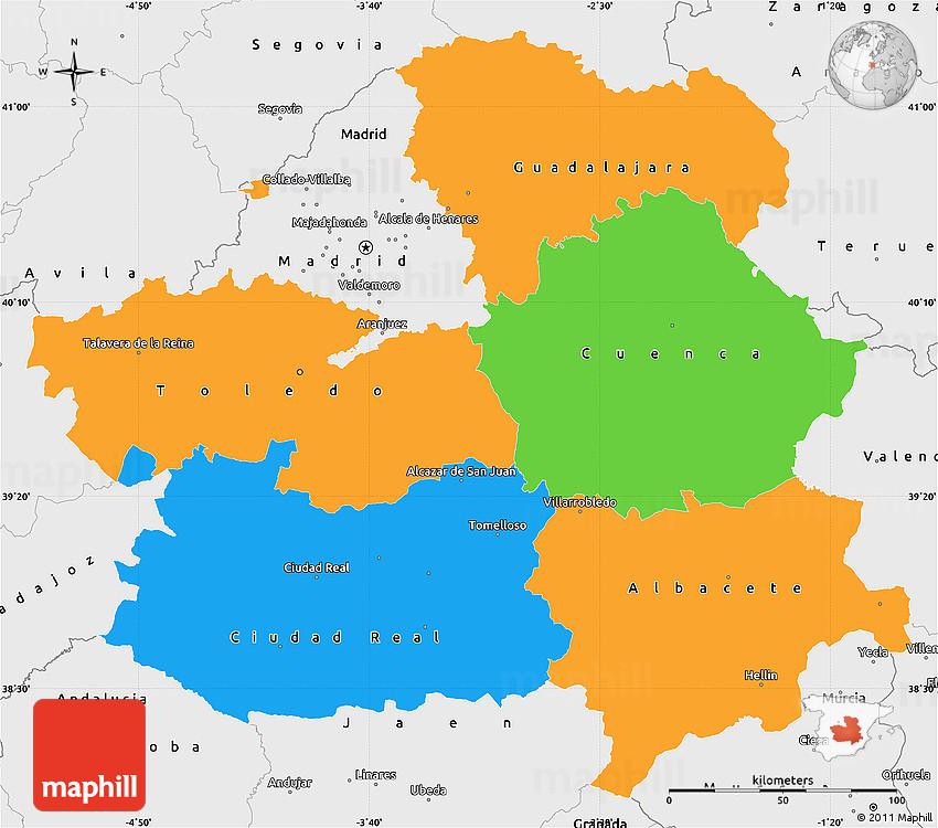 Map Of Spain La Mancha.Political Simple Map Of Castilla La Mancha Single Color Outside