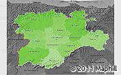 Political Shades 3D Map of Castilla y León, darken, desaturated