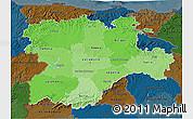 Political Shades 3D Map of Castilla y León, darken