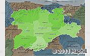 Political Shades 3D Map of Castilla y León, darken, semi-desaturated