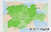 Political Shades 3D Map of Castilla y León, lighten