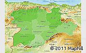 Political Shades 3D Map of Castilla y León, physical outside