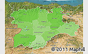 Political Shades 3D Map of Castilla y León, satellite outside