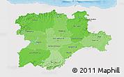 Political Shades 3D Map of Castilla y León, single color outside